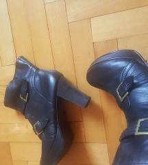Kožne crne čizme/gležnjače