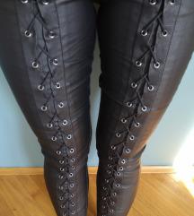 'Kožne' lace up hlače