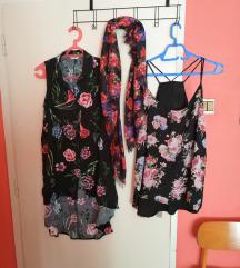 cvjetni lot 2 bluze M-XL i marama