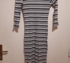 Prugasta dugačka haljina