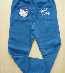 Hello Kitty jeans tajice, 6-8 g.,122/128