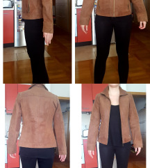 Kožna smeđa kratka jakna (prava brušena koža)