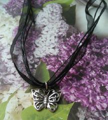 Ogrlica s privjeskom leptira srebro
