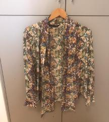 ZARA cvjetna košulja s mašnom