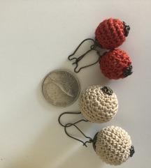 Naušnice crvene i krem bijele