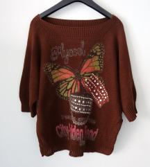 Retro smeđi pulover s motivom leptira
