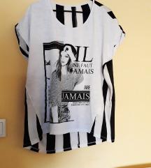 Majica print+pruge