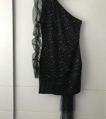 Crna haljina sa sljokicama bez ramena