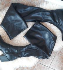 Crne kožne overknee čizme