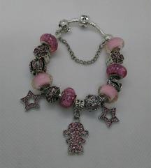 Pandora, roza zvjezdice, narukvica, nova!