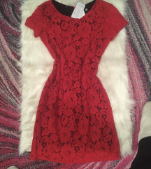 Crvena čipkasta haljina-NOVO