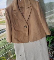 Krem-bež jakna&suknja na falte L