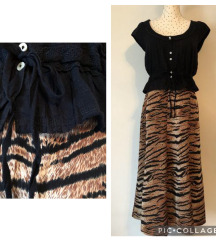 Vintage tiger print suknja & Miss Selfridge top