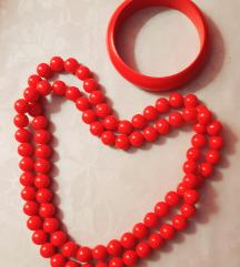 Lot crvena ogrlica narukvica drvo Vintage