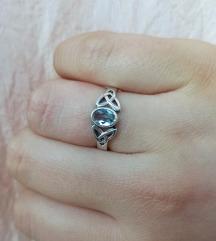 Keltski prsten sa topazom, srebro 925