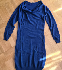 Tamno plava haljina/tunika od merino vune