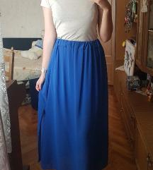 Plava maxi suknja