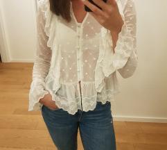 Embroidered bijela bluza s volancicima H&M