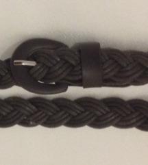Smeđi remen pletenica dužine do max 77 cm