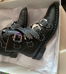 GIVENCHY Buckle Studded Leather Ankle Boots 37,5