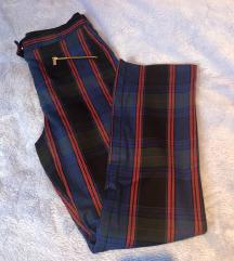 Zara plave karirane hlače xs