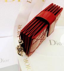 Lady Dior patern calfskin red cardholder original