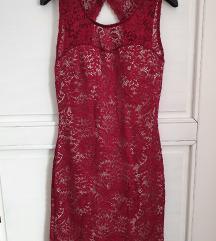 Bordo čipkasta haljina M