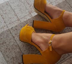 Žute retro sandale sa debljom petom