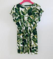 H&M zeleno bijela haljina viskoza lan