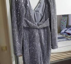Asos srebrna šljokasta haljina%