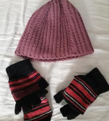 Kapa roza i rukavice bez prstiju lot