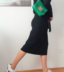 Midi crna haljina s pojasom