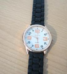 Unisex ručni sat crni gumeni remen