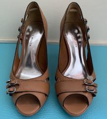 Karen Millen, kožne smeđe peep toe, 10 cm, 39,5