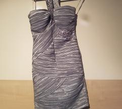 Asos svečana srebrna mini haljina S