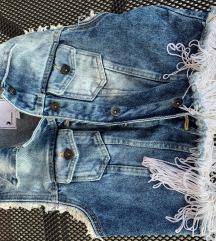Jeans prsluk s resicama