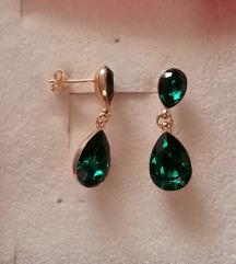 SWAROVSKI Emerald STERLING SREBRO 24kt ZLATO