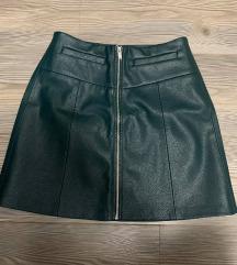 Zelena kožna suknja S
