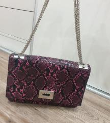 Roza/zmijski uzorak torbica