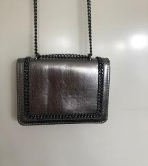 Zara mini torbica tamno srebrna