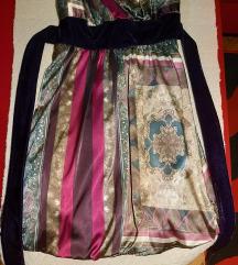 Fuksija mini haljina sa velvet mašnom