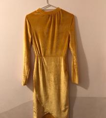 Velvet žuta haljina do koljena  (pt u cijeni)