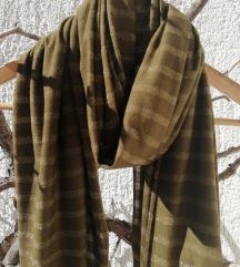 Maslinastozelena marama sa zlatnim nitima