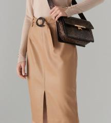 NOVA Bež kožna pencil suknja