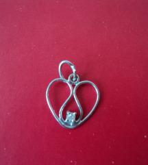 Vintage srce od bijelog zlata 585