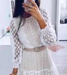 Bijela - bež haljina S