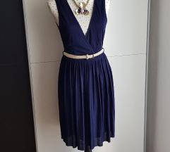 Nova tamnoplava plisirana H&M haljina