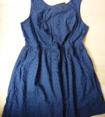 Nova tamnoplava F&F pamučna štikana haljina, 48