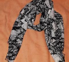 Šal/Marama crno-bijeli