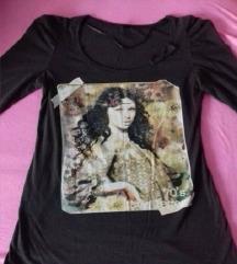 Smeđa majica sa printom, S/M